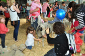 Children Petting Lambs at Agricultural Show — Stock Photo