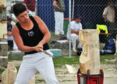 Competitor in the Overhand Wood Chopping at the 2012 Canterbury — Stock Photo