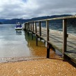 Stock Photo: Dartmoor Bay Jetty & Boat, Marlborough Sounds, New Zealand