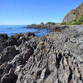 Kaikoura Rocky Coastline Vertical Panorama, New Zealand — Stock Photo