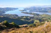 Lyttleton přístavní panorama, christchurch, nový zéland. — Stock fotografie