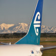 Stock Photo: Air New Zealand aircraft at Christchurch with Southern Alps