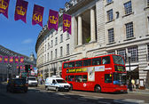 Red Double Deck Bus in Regent Street, London UK — Stock Photo