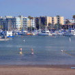 Paddle Boarders at Marina Del Rey, Los Angeles, USA. — Stock Photo