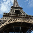 Foto Stock: Detailed View of Eiffel Tower from Underneath.