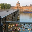Stock Photo: Inscribed Love Padlocks on Pont Des Arts Bridge in Paris Fr