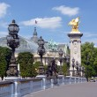 Pont Alexandre III Bridge and Grand Palace, Paris France. — Stock Photo