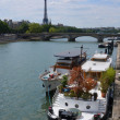 Party Boats Moored on The Seine River with Eiffel Tower in Backg — Stock Photo