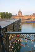 Inscribed Love Padlocks on the Pont Des Arts Bridge in Paris Fr — Stock Photo