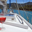 Stock Photo: Red Rose Wine on Yacht in Marlborough Sounds.