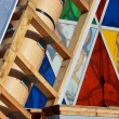 Stock Photo: Christchurch Earthquake Rebuild - Cardboard Cathedral Stained Gl