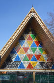 Christchurch Earthquake Rebuild - Cardboard Cathedral Stained Gl — Stock Photo