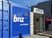 Christchurch Earthquake Rebuild - Portable Container Bank. — Stock Photo