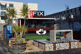 Christchurch Earthquake Rebuild - Red Fix Expresso Bar Opens on — Stock Photo