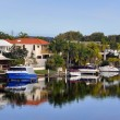 Noosa Waters Houses, Canal, Boats & Jetty, Queensland Australia — Stock Photo #39733407