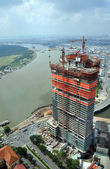 Aerial view of the commercial building boom in central Saigon. — Stock Photo