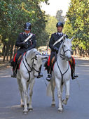 Horse mounted Police Borghese Gardens, Rome Italy — Stock Photo