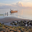 Bali Fishermen Preparing Their Boat at Dawn at Sanur Beach. — Stock Photo