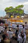 Praying at the Temple of Tanah Lot, Bali Indonesia — Stock Photo