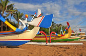 Closeup of colorful Bali Fishing Boats on the Beach at Sanur, In — Stok fotoğraf