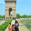 Poor Indian Family Begs in Front of India Gate. — Stock Photo
