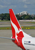 Qantas Plane Tail & Logo at Sydney International Airport — Stock Photo