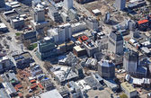 Aerial Close-up View of Christchurch City Earthquake Demolitions — Stock Photo