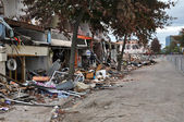 Christchurch Earthquake - Total Devastation in Colombo Street. — Stock Photo