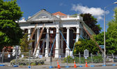 Christchurch Earthquake - Saving The Baptist Church Building. — Stock Photo