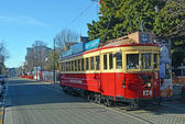 Tram on Worcester Boulevard, Christchurch in Winter — Stock Photo