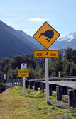 Kiwi next 4 km sign at Arthurs Pass, New Zealand. — Stock Photo