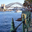 Sydney Harbour Bridge from Circular Quay with Railings Detail — Stock Photo #50090769