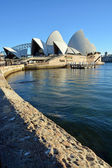Sydney Opera House Vertical View with Wall in Foreground. — Stock Photo