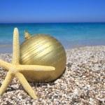 Christmas ornaments on the beach — Stock Photo #11623079