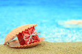 Gift box in a sea shell on the beach — Stock Photo