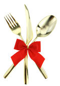 Christmas cutlery — Stock Photo