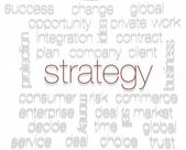 STRATEGY. Word collage on white background — Stock Photo