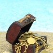 Treasure chest on a beach  — Stock Photo