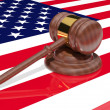 Gavel on the flag of America - Stock Photo