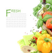 Fresh vegetables on white background with copy space — Stock Photo