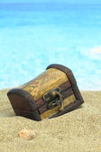 Closed treasure chest on a beach — Stock Photo