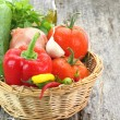 Fresh vegetables in wicker basket — Stock Photo #13922777