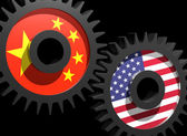 Two gears with the flags of China and USA — Stock Photo
