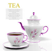 Porcelain teapot and teacup on white background — Stock Photo