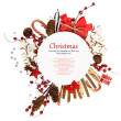 White Christmas plate with ornaments and candies — Stock Photo #14883439