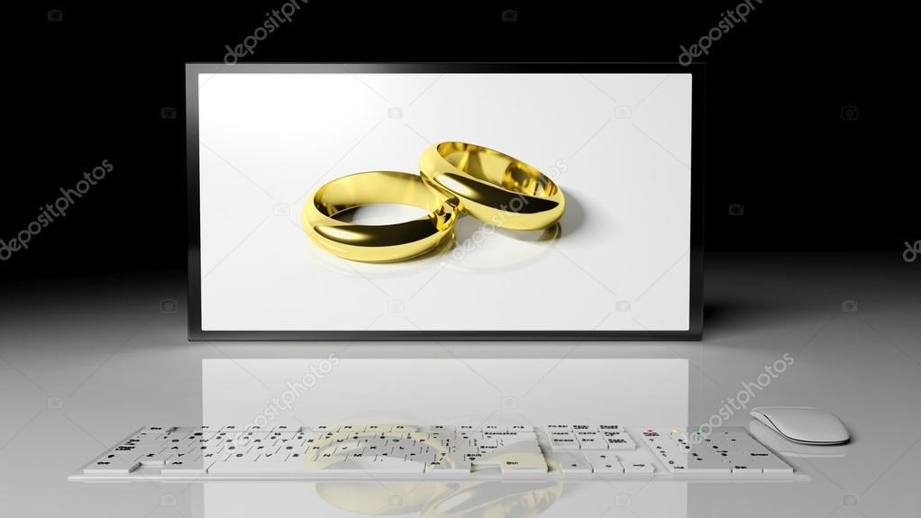 Wedding rings in the widescreen — Stock Photo #14882789