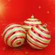 Royalty-Free Stock Photo: Christmas balls on red background