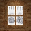 Stock Photo: Wooden window overlook trees covered of snow