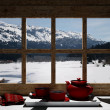 Stock Photo: Wooden window overlook snowy mountains