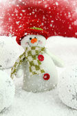 Happy snowman on the snow — Stock Photo
